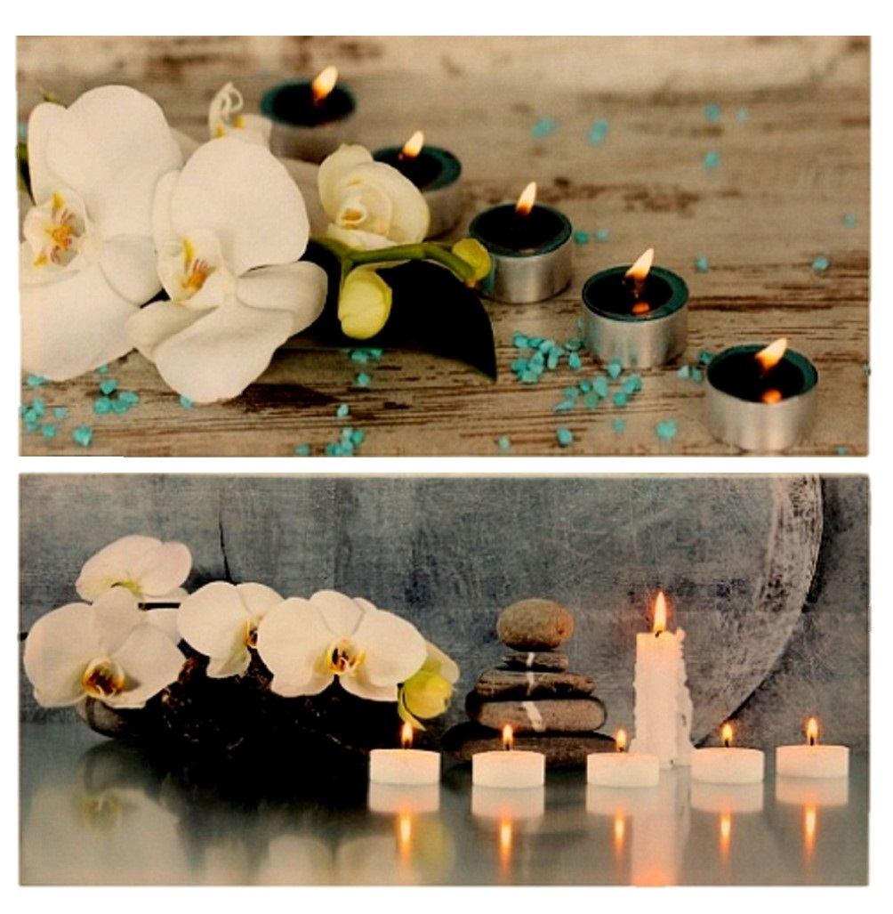 2er set wandbilder led beleuchtet kerzen orchidee je 30cm. Black Bedroom Furniture Sets. Home Design Ideas