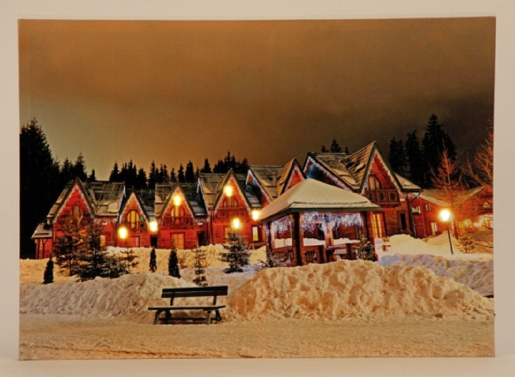 gro es wandbild led beleuchtet winterdorf 50cm x 70cm bild dorf am abend winter ebay. Black Bedroom Furniture Sets. Home Design Ideas
