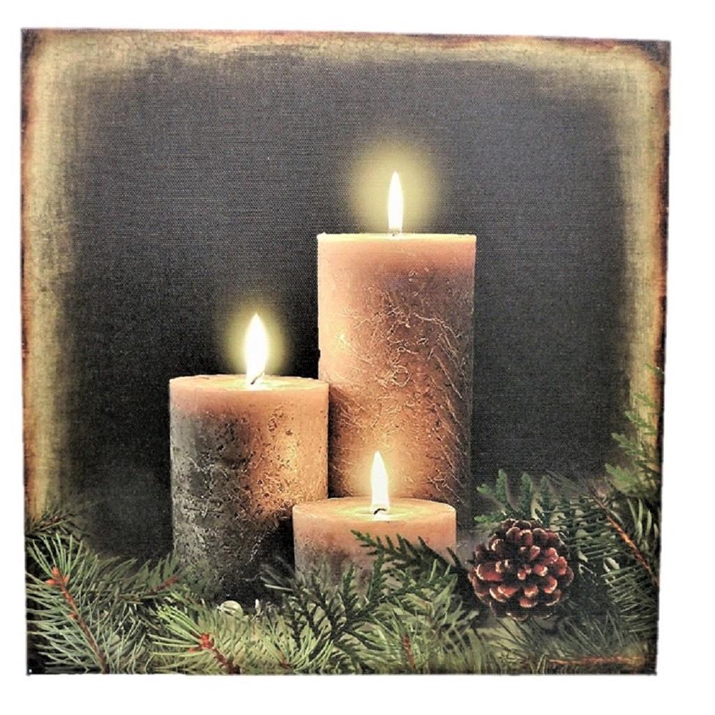 2 wandbilder kerzen led beleuchtet je 30 x 30 cm batteriebetrieben weihnachten. Black Bedroom Furniture Sets. Home Design Ideas