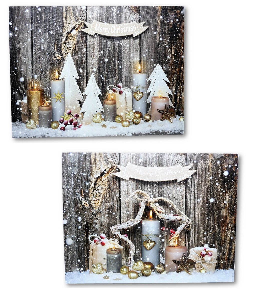 2 wandbilder merry christmas led beleuchtet 40 x 30 cm kerzen weihnachten ebay. Black Bedroom Furniture Sets. Home Design Ideas