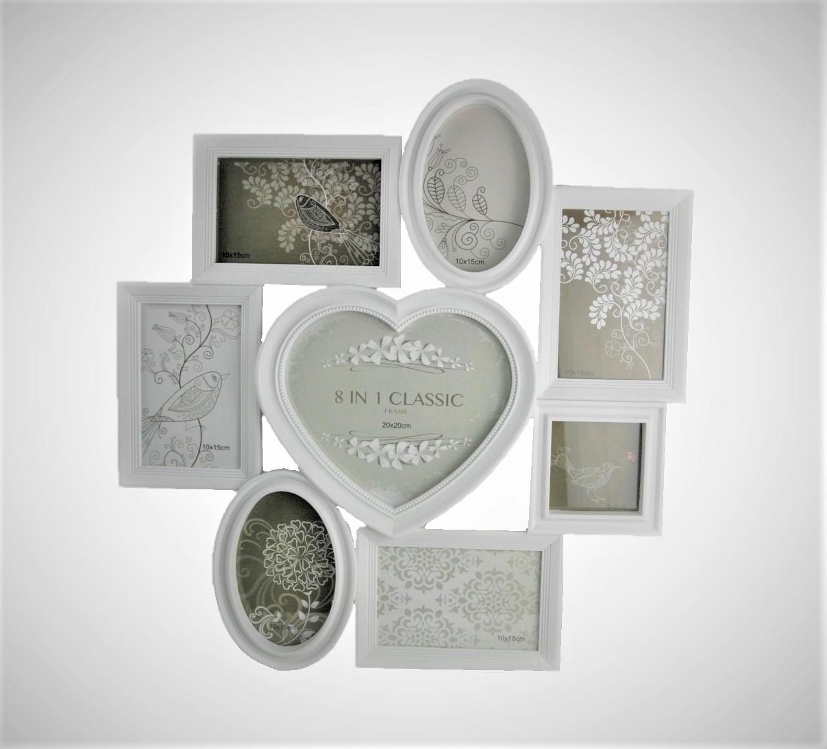 bilderrahmen 49 cm x 50 cm collage f r 8 fotos verschiedene rahmen in wei ebay. Black Bedroom Furniture Sets. Home Design Ideas