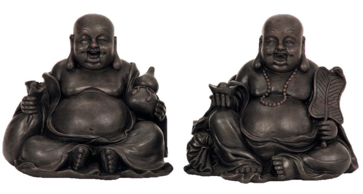 2 st ck buddha asiatische figuren lachend verschiedene motive buddhismus asia ebay. Black Bedroom Furniture Sets. Home Design Ideas