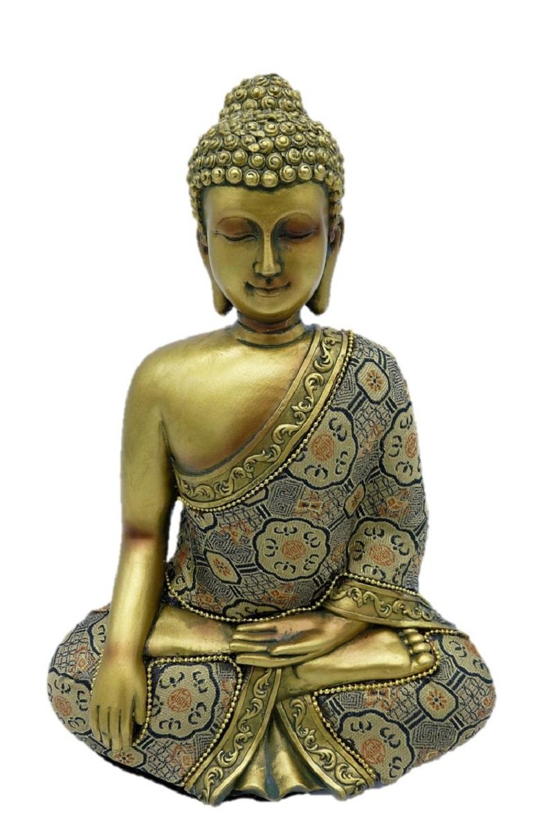 buddha in gold 23 cm mit stoffgewand feng shui figur. Black Bedroom Furniture Sets. Home Design Ideas
