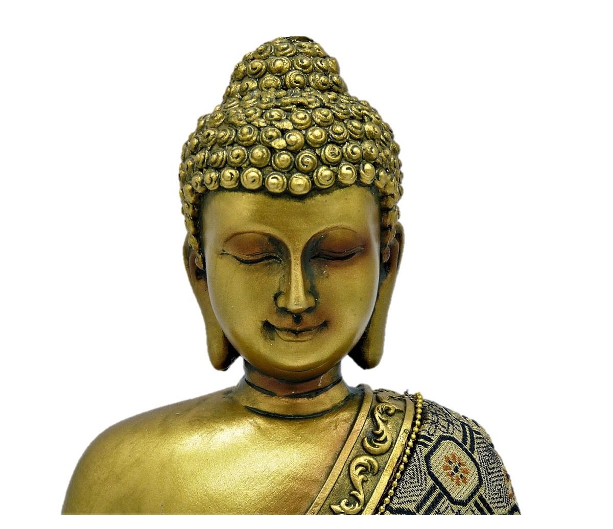 buddha in gold 23 cm mit stoffgewand feng shui figur buddhismus ebay. Black Bedroom Furniture Sets. Home Design Ideas