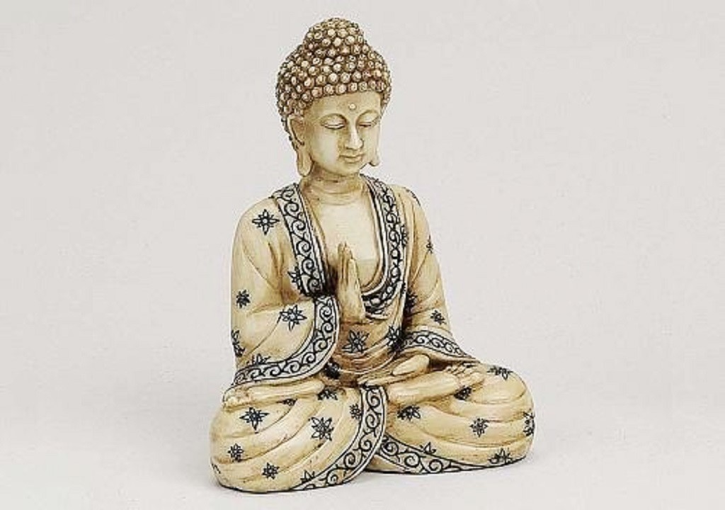 buddha elfenbeinoptik sch ne figur 16cm asiatika ebay. Black Bedroom Furniture Sets. Home Design Ideas