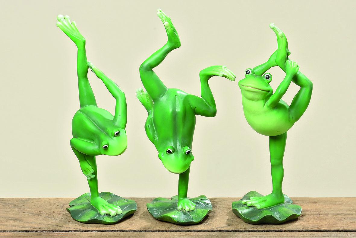 3 er set lustige yoga frosch figuren je 24 cm gro gymnastik sport bungen ebay. Black Bedroom Furniture Sets. Home Design Ideas