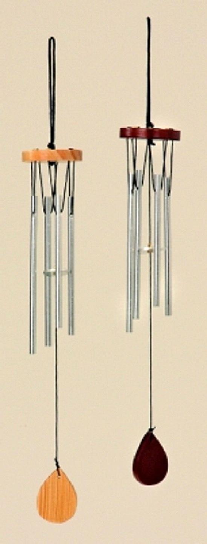 3 Stück Klangspiele 33cm in Natur und Braun mit 4 Klangröhren Windspiel Mobile