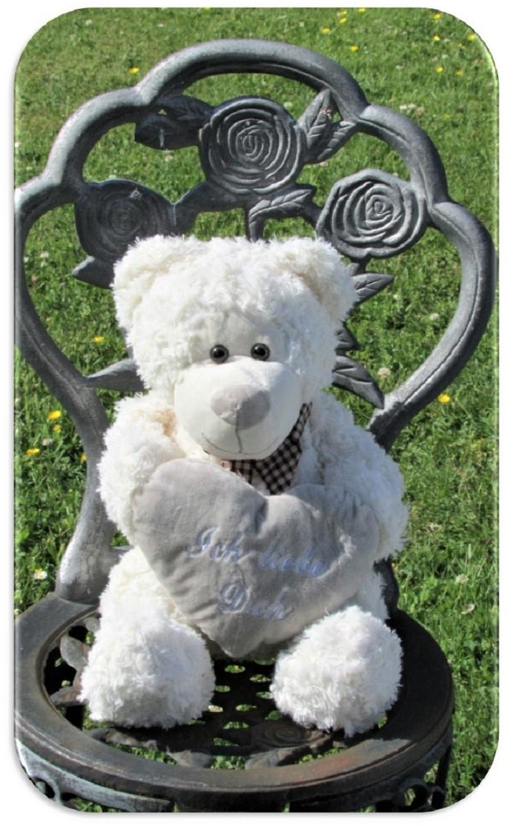 b r mit schleife und herz ich liebe dich teddy 32 cm kuscheltier teddyb r ebay. Black Bedroom Furniture Sets. Home Design Ideas