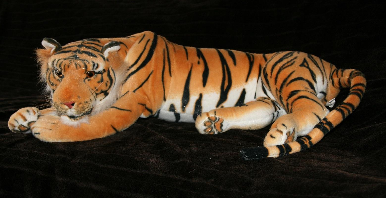 kuscheltier tiger xxl pl schtier braun stofftier raubkatze 85 cm tier bis 130cm ebay. Black Bedroom Furniture Sets. Home Design Ideas