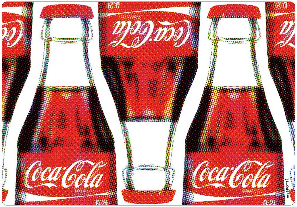 myspotti moderner spritzschutz coca cola art k che sp le aluminium. Black Bedroom Furniture Sets. Home Design Ideas