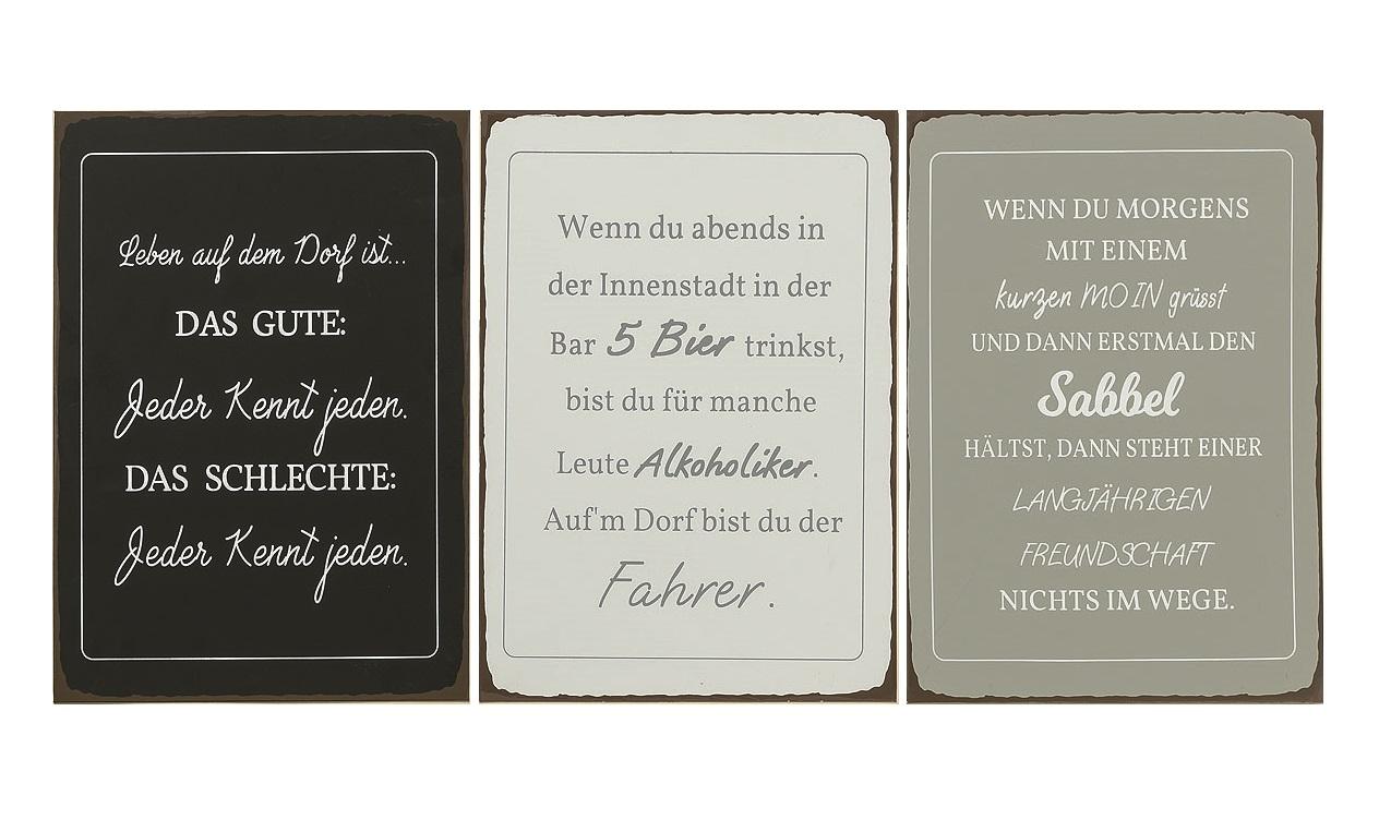 Details Zu 3 X Metall Schilder 40 X 30cm Deko Blechschild Mit Spruch Uber Dorfleben Freunde