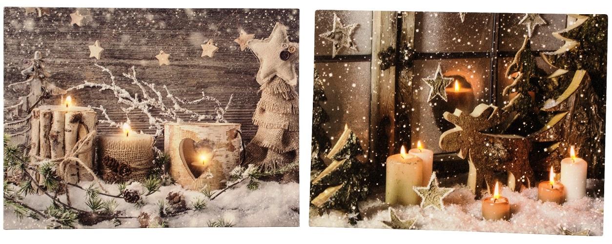 Led Bilder Weihnachten.Details Zu 2 Wandbilder Led Beleuchtet Weihnachten Kerzen Elch Sterne Bild Je 40 X 30 Cm