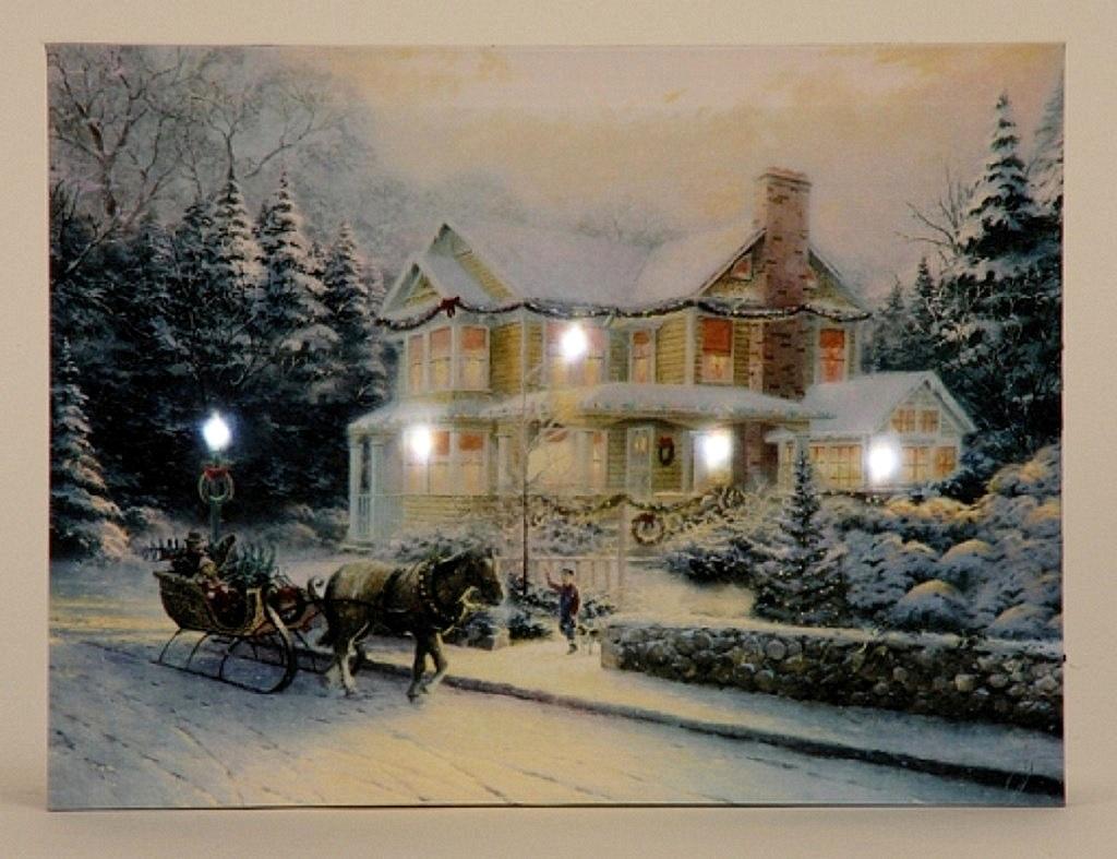 Weihnachtsbilder Mit Led.Led Wandbild Winterhaus Beleuchtet 30cm X 40cm Leinwand Winter Haus