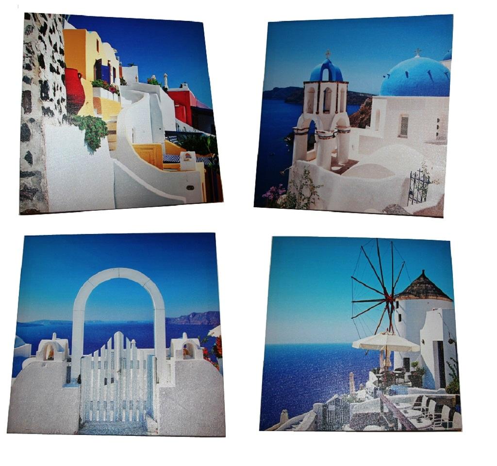 . 4er Set Wandbilder Griechenland je 40 x 40 cm Leinwand auf Holzrahmen