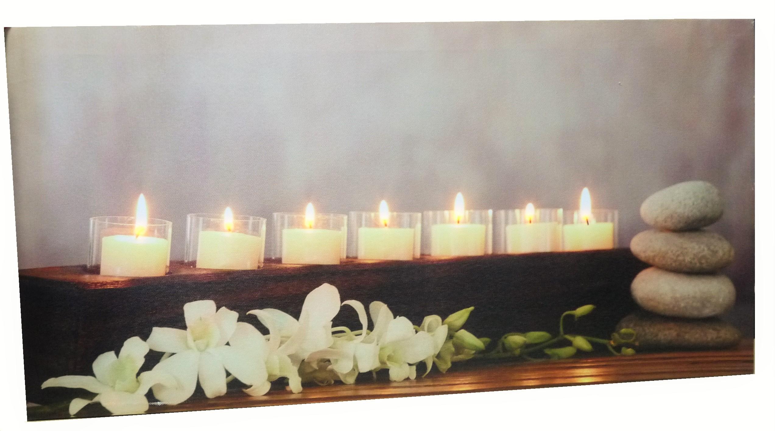led beleuchtetes wandbild gro es bild mit 7 kerzen 60 cm x 30 cm feng shui ebay. Black Bedroom Furniture Sets. Home Design Ideas