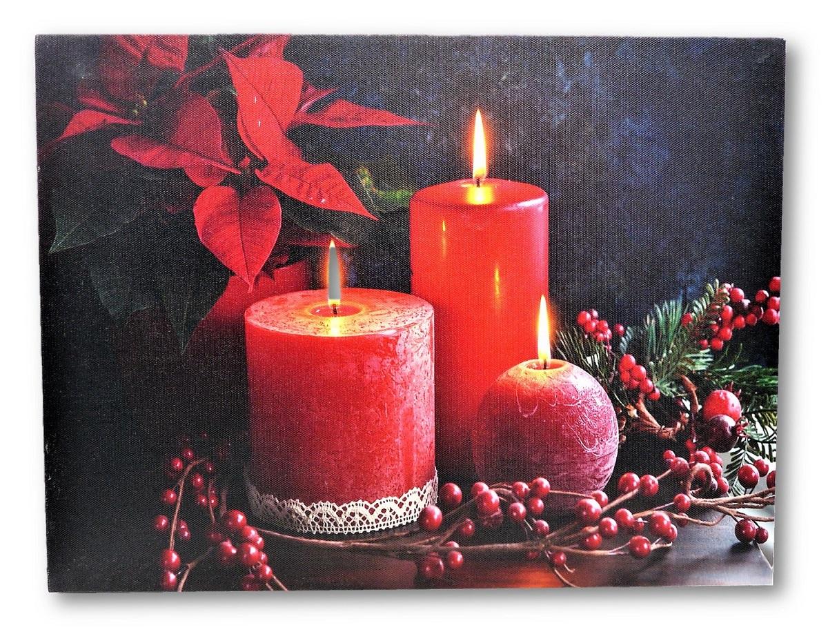2 wandbilder rote kerzen und teelichter led beleuchtet je. Black Bedroom Furniture Sets. Home Design Ideas