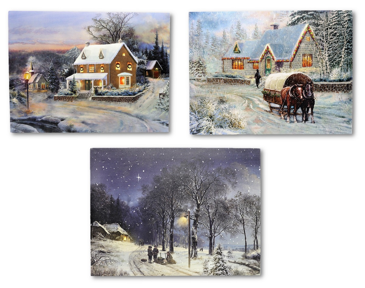 3 wandbilder winterlandschaft led beleuchtet 40 x 30 cm schnee weihnachten ebay. Black Bedroom Furniture Sets. Home Design Ideas