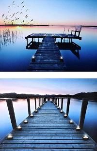 2 LED Wandbilder Steg am See Bilder beleuchtet je 40 x 30 cm