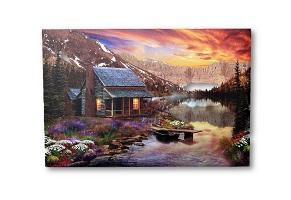 Wandbild LED Haus am See Bilder beleuchtet 60 x 40 cm