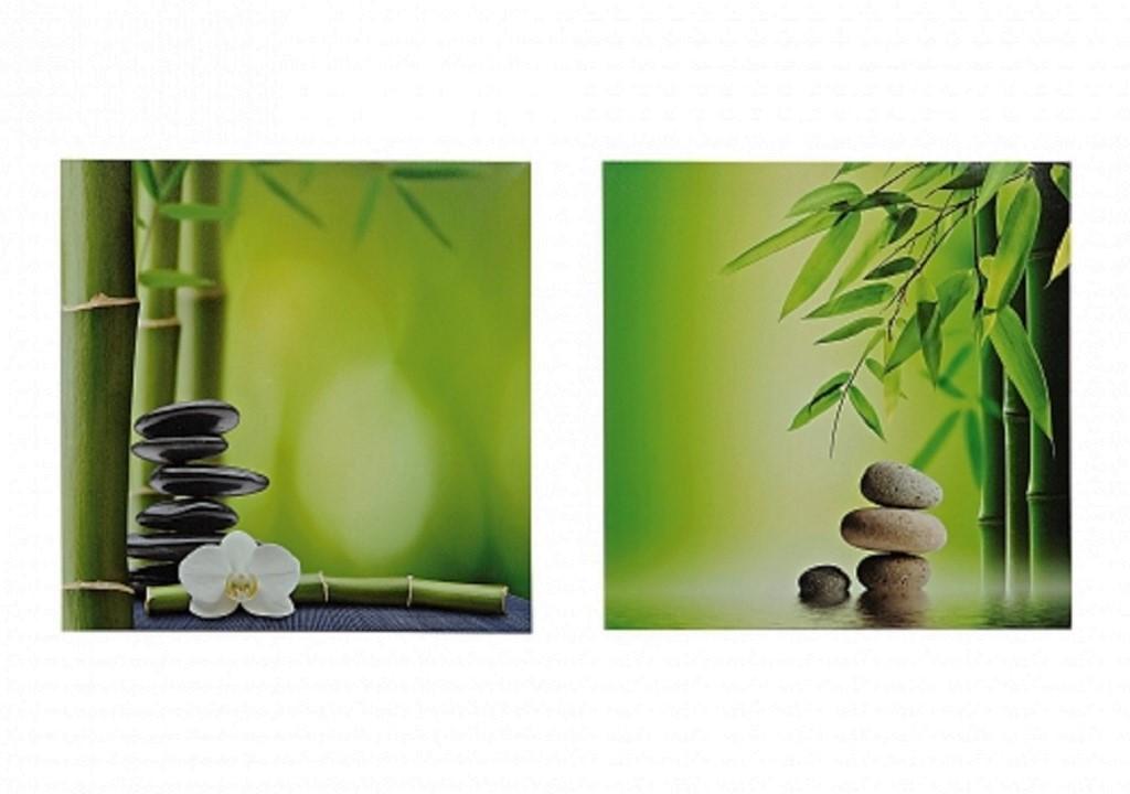 . 2 er Set  Bambus Bild Wandbild 40cm Steingarten Feng Shui