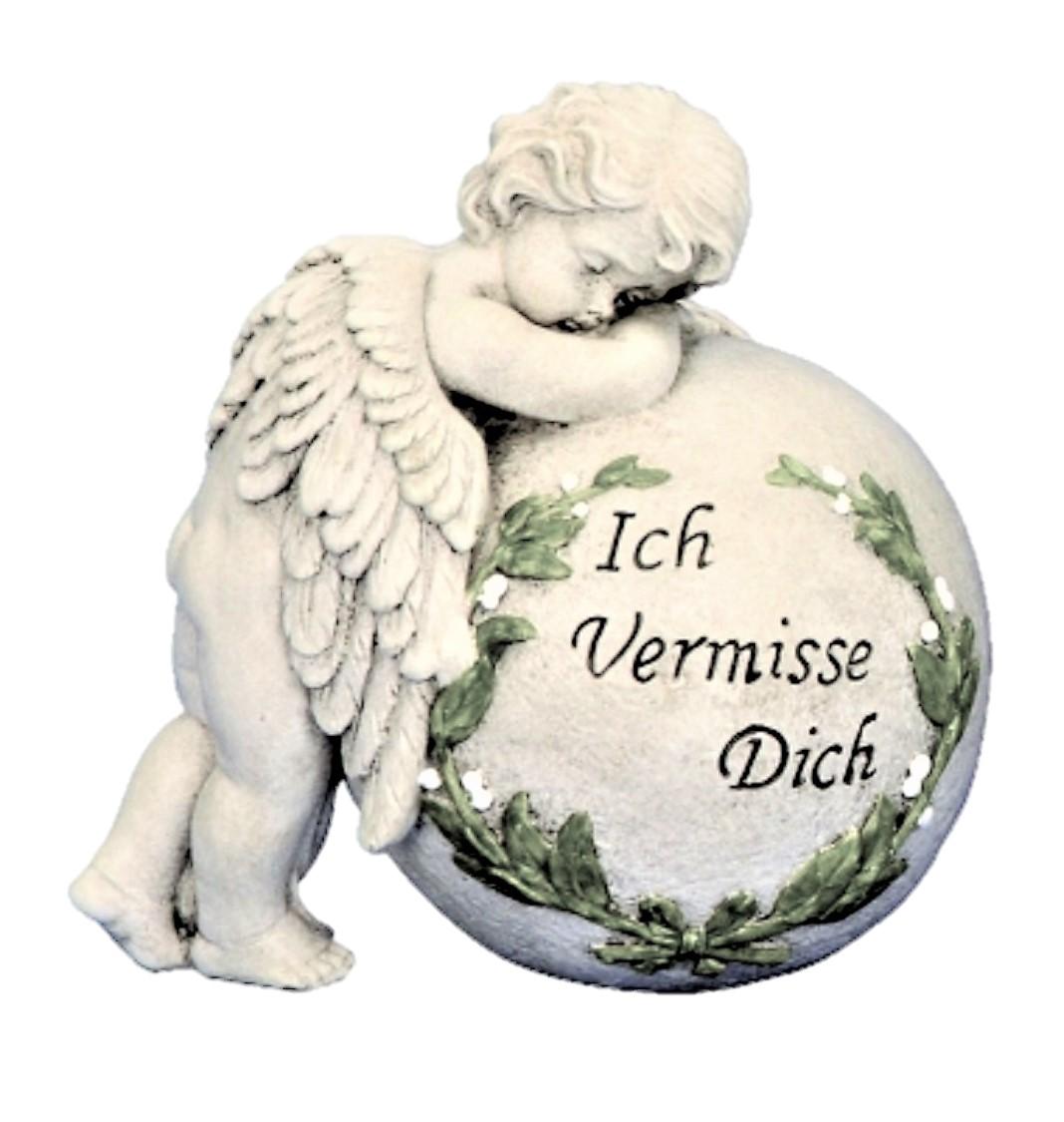 ° Engel mit Kugel Grabschmuck 19,5 cm Ich vermisse dich Trauerstein Engelfigur