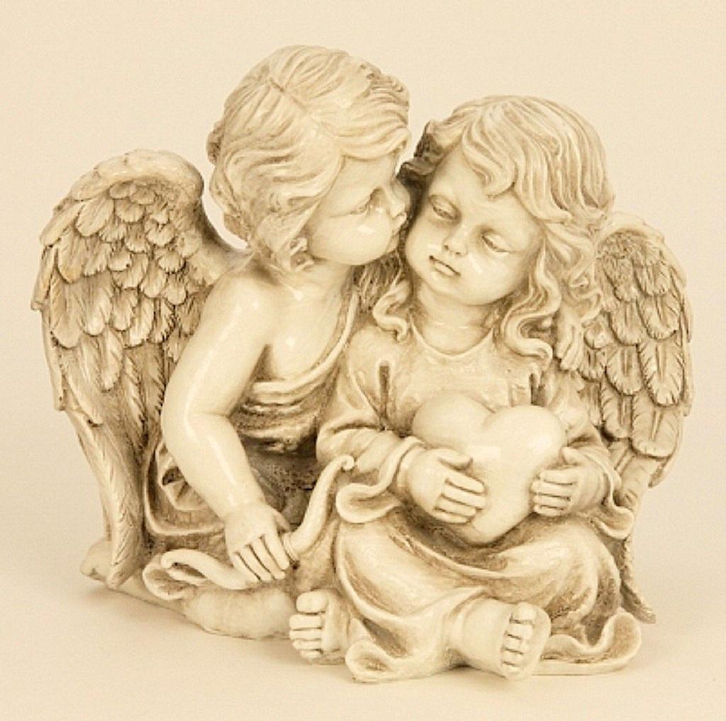 ° Engelspaar mit Herz Figur sitzend ca. 21,5cm Engelfiguren Paar Engel