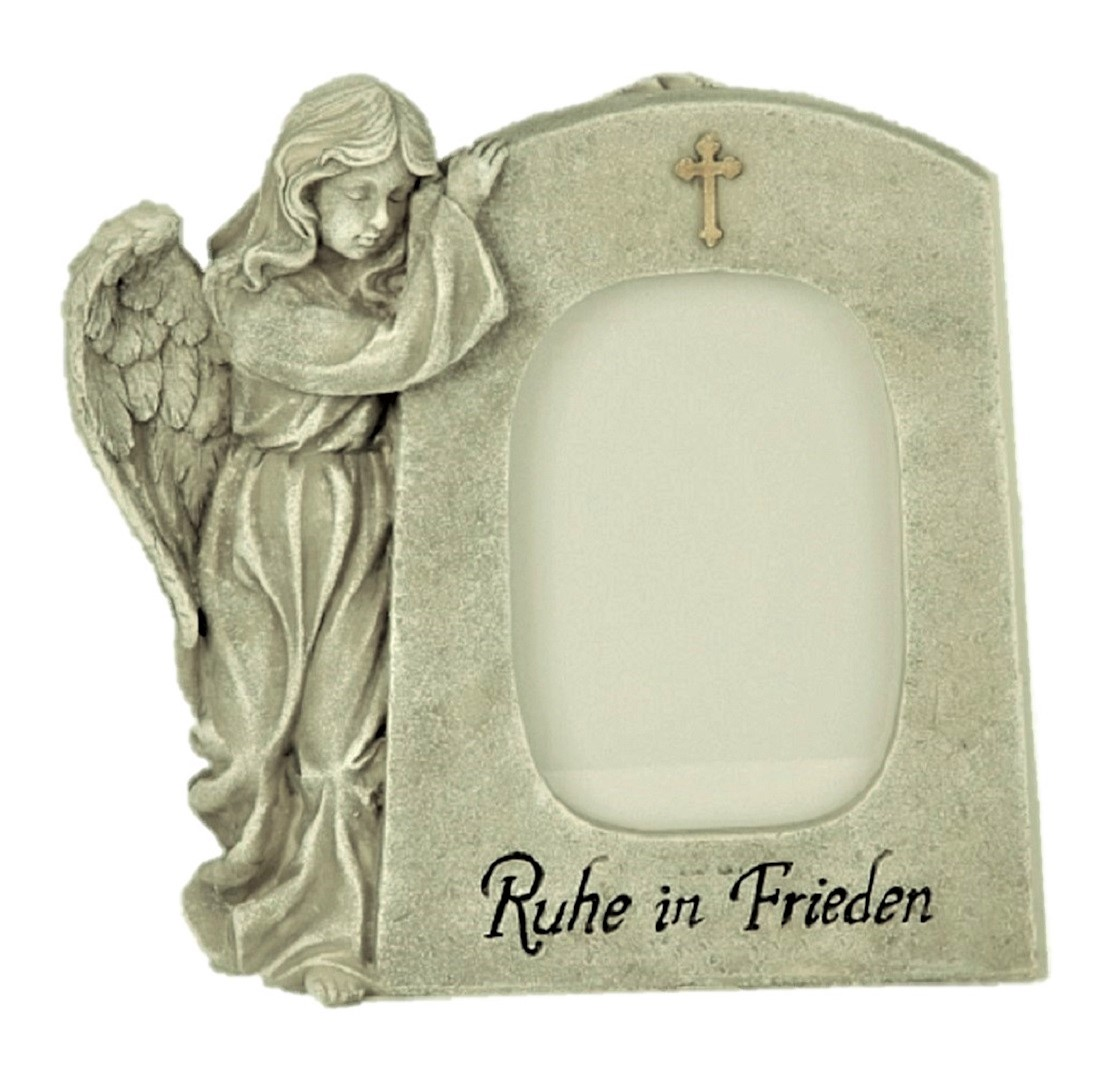 ° Grabschmuck Engel neben Trauerstein mit Aufschrift Ruhe in Frieden Engelfigur