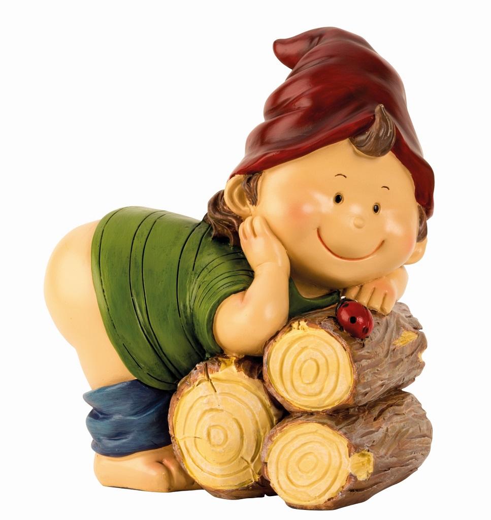 - Gartenzwerg mit nacktem Popo 21,5 x 18 cm Zwerg Wicht Gnom Figur