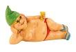 GRÜN Nackte Zwergin mit grüner Mütze nackt liegend 23 cm