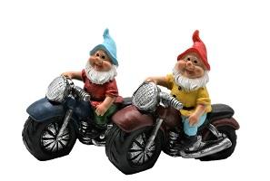 - 2 er Set Gartenzwerge auf Motorrad 15x15cm Gartenfigur Gnome Figuren