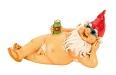 ROT Nackter Zwerg mit roter Mütze nackt liegend 26 cm