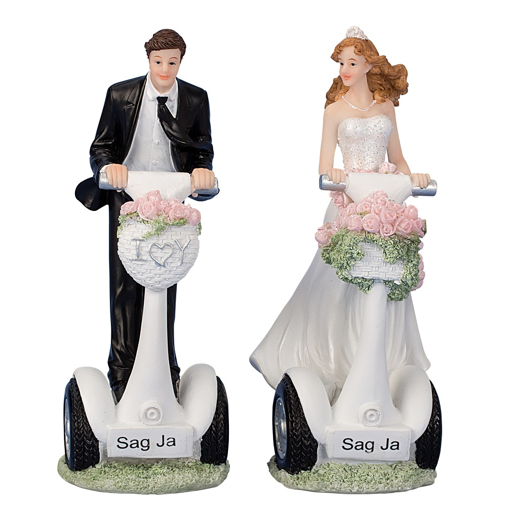 ° 2 Stück Braut und Bräutigam auf Stehroller Hochzeit Figuren ca. 16cm