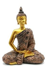 Buddha Figur 22 cm Gold Skulptur Feng Shui