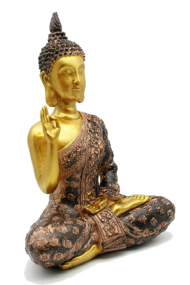 buddha figur in gold 28 cm lotussitz feng shui figuren buddhismus ebay. Black Bedroom Furniture Sets. Home Design Ideas