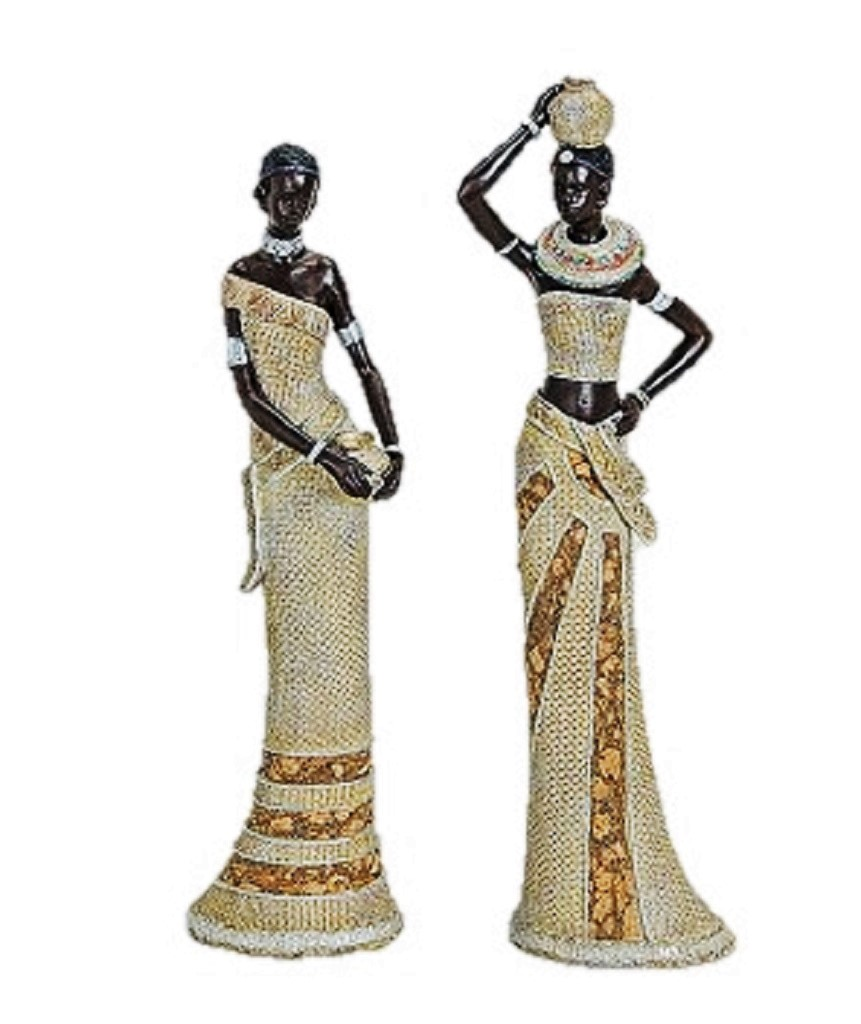 2 st ck afrikanerinnen sch ne massai frauen figuren afrika deko. Black Bedroom Furniture Sets. Home Design Ideas