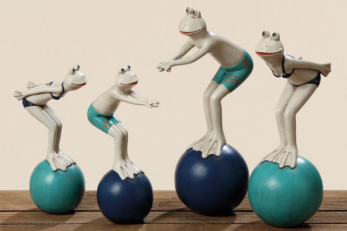 2 Stück Frosch Figuren in Badehose und Bikini je 21 cm Froschfigur
