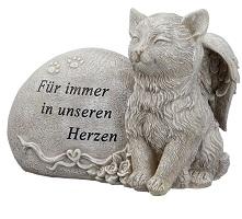 KATZE Grabdeko Figur mit Spruch und Engelsflügeln 17 cm grau Skulptur
