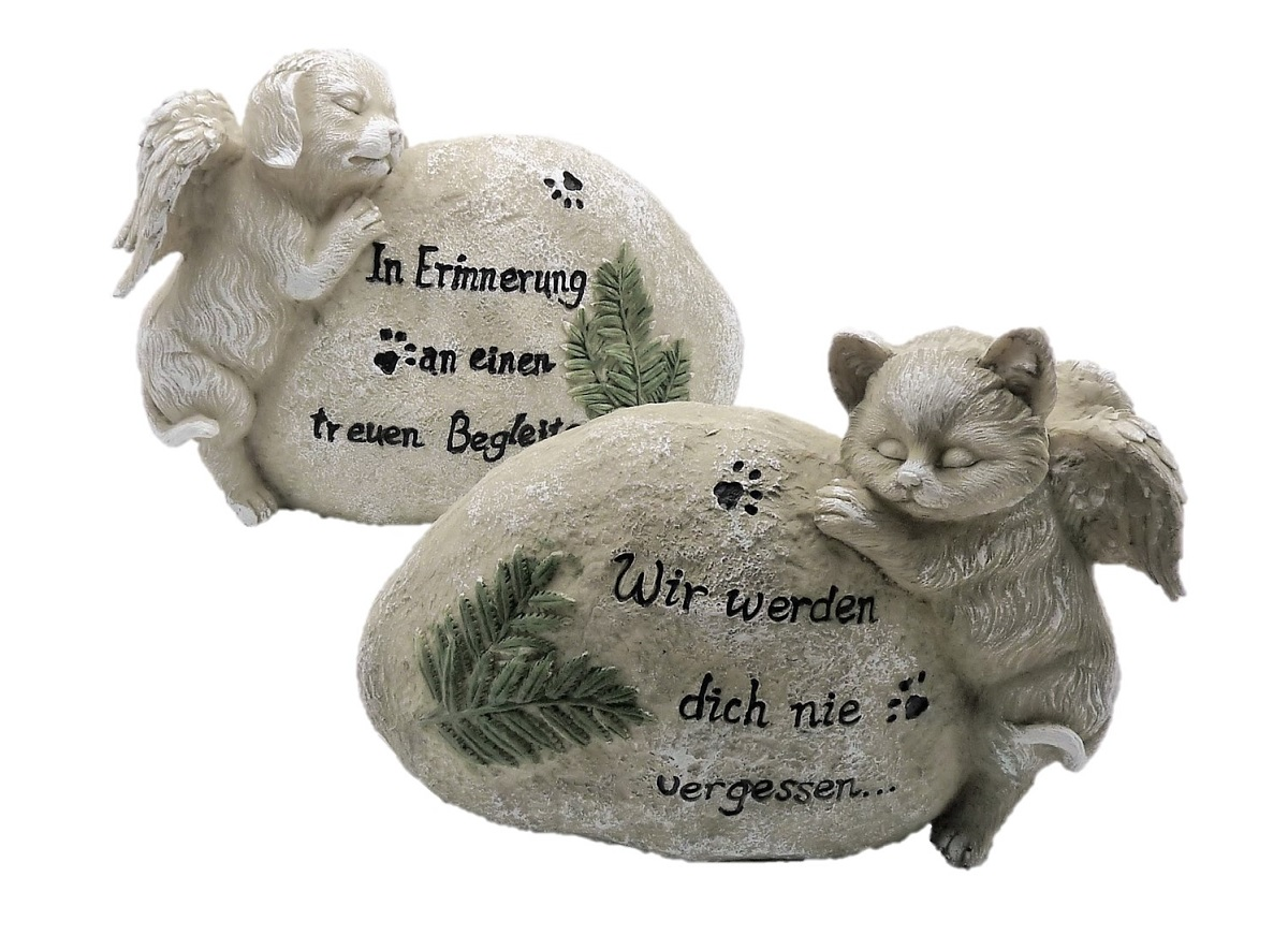 Details Zu Grabstein Hund Oder Katze Mit Engelsflügeln Und Spruch Figuren Haustier Grabdeko