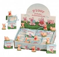 _ 24 Stück Glücksschwein im Display mit Viel Glück Tüte Piggy
