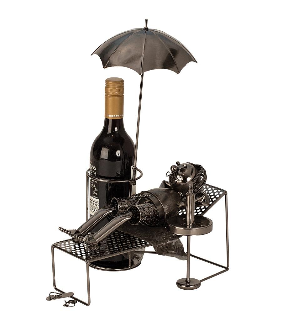 Flaschenhalter Urlauber 39 cm x 30 cmFlaschenständer Weinhalter Metallständer