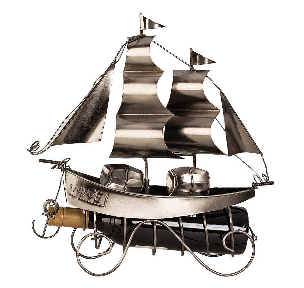 Flaschenhalter Segelschiff 38,5 cm hoch Flaschenständer Weinhalter Metallständer