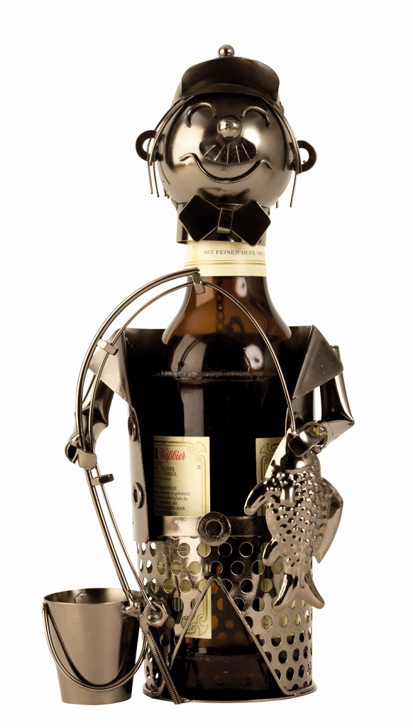 Flaschenhalter Angler für Bier Flasche aus Metall  Flaschenständer
