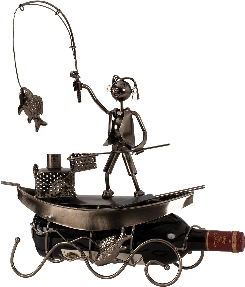 Metall Flaschenhalter Angler mit Boot