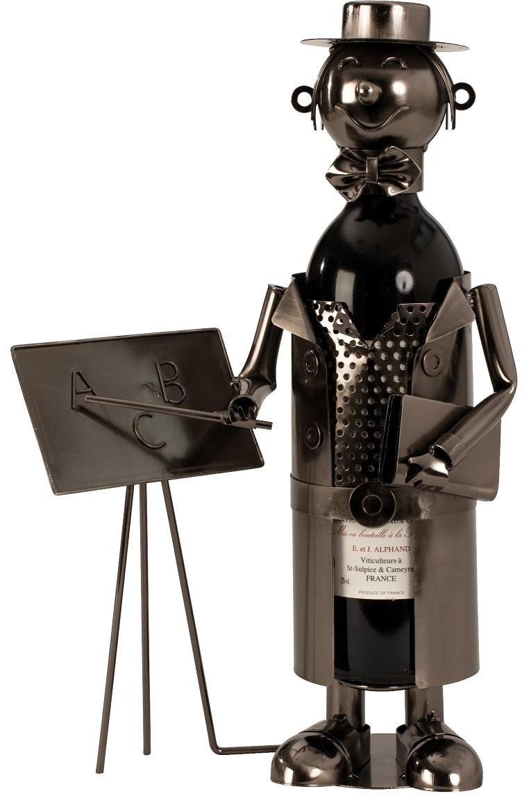 Flaschenhalter Metall Lehrer 37 cm Flaschenständer Weinhalter Metallständer