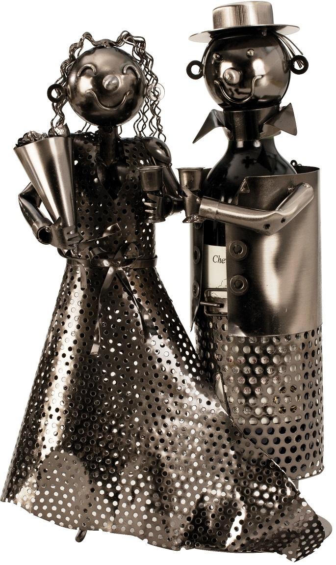 Flaschenhalter Hochzeitspaar 34 cm Flaschenständer Weinhalter Metallständer