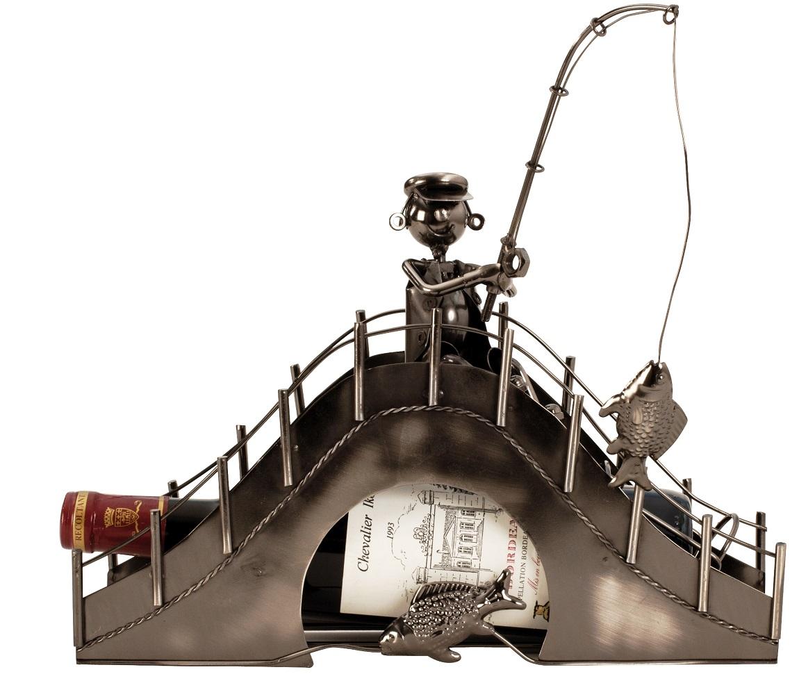 Flaschenhalter Angler Brücke 33 cm Flaschenständer Weinhalter Metallständer