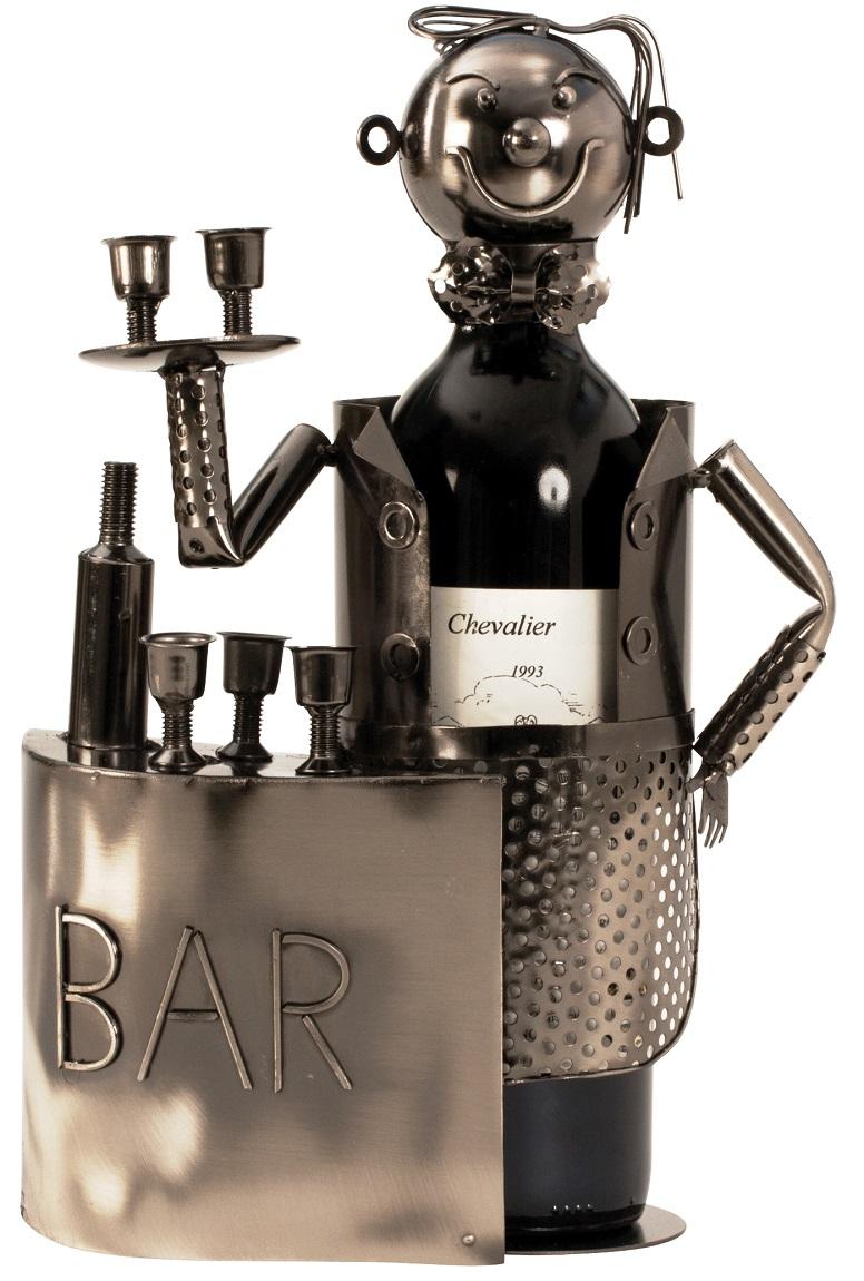 Flaschenhalter Barkeeper Kellner 32 cm Flaschenständer Weinhalter Metallständer