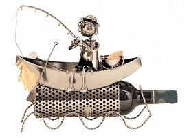Flaschenhalter Fischer im Boot Metall Flaschenständer Weinhalter Metallständer