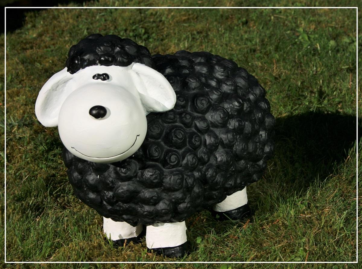dekofigur schwarzes schaf uli bunte tier figuren für haus und garten
