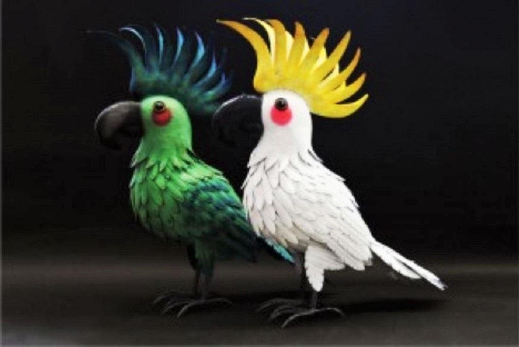 xxl metall vogel figur papagei weiss gelb metallfigur f r haus und garten deko ebay. Black Bedroom Furniture Sets. Home Design Ideas
